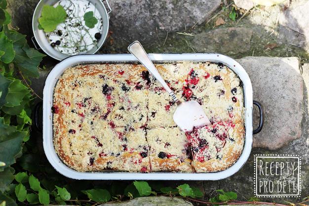 Prázdninový kynutý koláč s rybízem a drobenkou